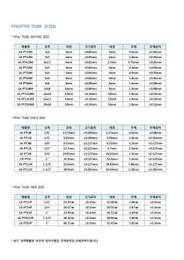 PFA/PTFE TUBE 규격표