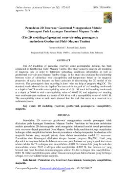 Pemodelan 2D Reservoar Geotermal Menggunakan Metode