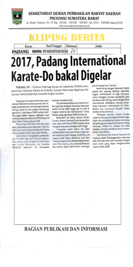 2017, Padang International Karate-Do bakal Digelar