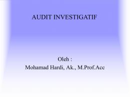 Audit Investigatif oleh Inspektur I