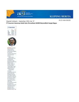 Majalah Infobank – September 2016, hal. 37 PT Asuransi Jiwasraya
