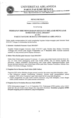 Jadwal Perkuliahan FIB Gasal 2016-2017