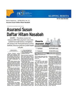 Bisnis Indonesia – 19/09/2016, hal. 22 Asuransi Susun Daftar Hitam