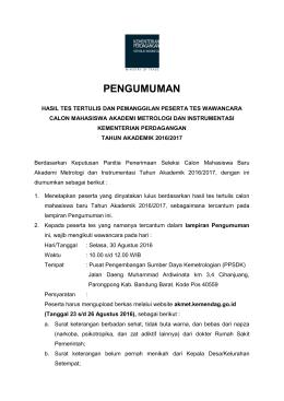 PENGUMUMAN - Akademi Metrologi dan Instrumentasi