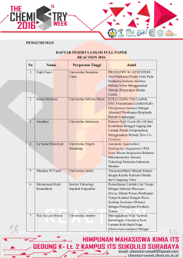 Daftar Finalist - The Chemistry Week 8th