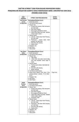 Atribut Dan Penugasan PKKMB UIGM 2016