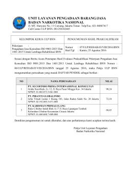 Pengumuman daftar pendek - LPSE Badan Narkotika Nasional