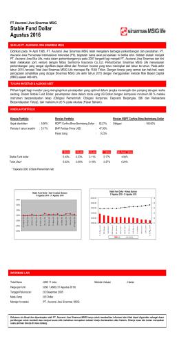 Stable Fund Dollar Agustus 2016 - PT. Asuransi Jiwa Sinarmas MSIG