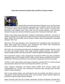 Dirjen Bina Konstruksi Serahkan Satu Unit MTU ke Pemprov Kaltara