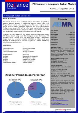 Anugerah Berkah Madani IPO Summary