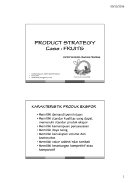 PRODUCT STRATEGY Case : FRUITS