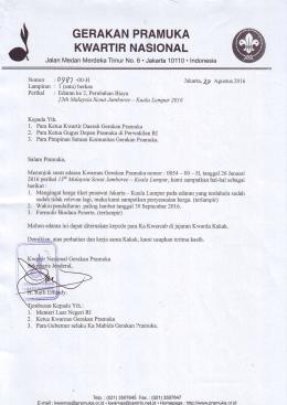 Perubahan Biaya 13th Malaysia Scout Jamboree-Kuala