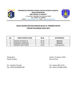 Hasil Seleksi - SMA Negeri 13 Jakarta