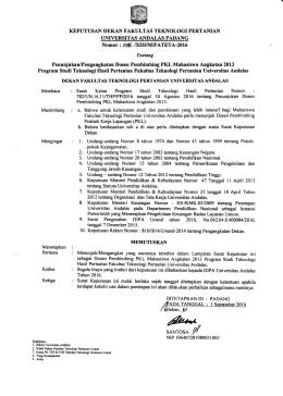 SK PKL 2013 THP - Fakultas Teknologi Pertanian Universitas Andalas