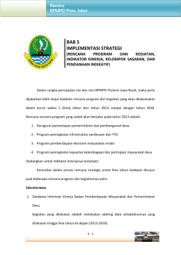 Bab 5 Laporan RENSTRA BPMPD Prov Jawa Barat