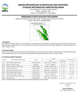 Prakiraan Cuaca Wilayah Pelayanan