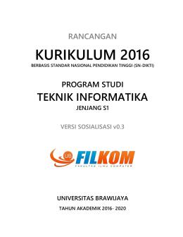 Panduan Kurikulum 2016 untuk PS Teknik Informatika
