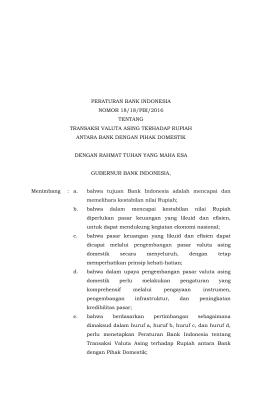 peraturan bank indonesia nomor 18/18/pbi/2016 tentang transaksi
