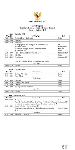 KOMISI INFORMASI PUSAT Jadwal Kegiatan Rapat Kerja Teknis