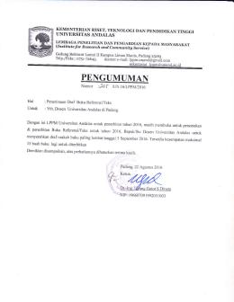 PENGUMUMAN - Lppm - Universitas Andalas