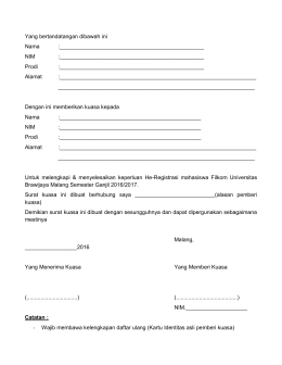 Form Surat Kuasa - Universitas Brawijaya