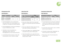 Prüfungstermine 2016 START DEUTSCH 1 • Die Prüfungsgebühren