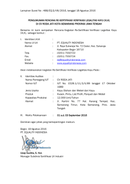 Lampiran Surat No : 488/EQ.S/VIII/2016, tanggal 18 Agustus 2016