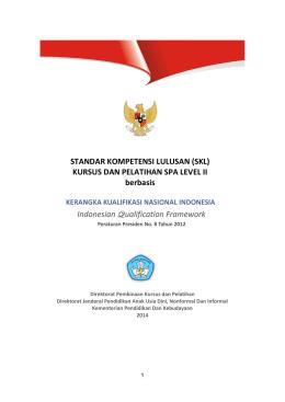 SKL SPA jenjang II Berbasis KKNI - Direktorat Pembinaan Kursus