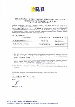 pengumuman hasil evaluasi dokumen penawaran