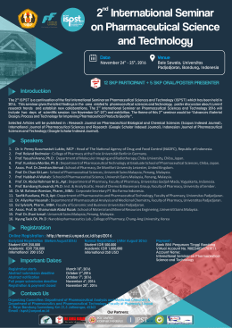 2 International Seminar on Pharmaceutical Science and Technology