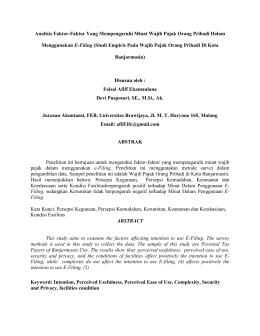 Analisis Faktor-Faktor Yang Mempengaruhi Minat Wajib Pajak