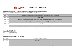 rundown program - International Conference, IC