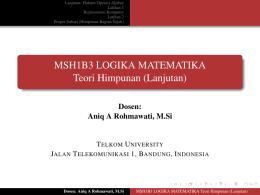 MSH1B3 LOGIKA MATEMATIKA Teori Himpunan