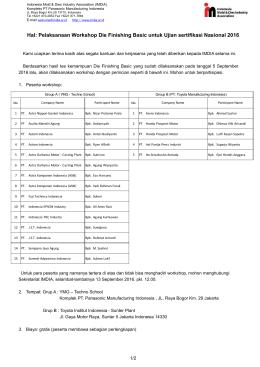 Hal: Pelaksanaan Workshop Die Finishing Basic untuk Ujian