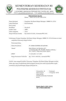 PENGUMUMAN LELANG Nomor : BN.01.02/I.2/B/1.009/2016 Nama