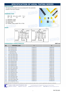 SPECIFICATION OF AXIAL TAPING SERIES