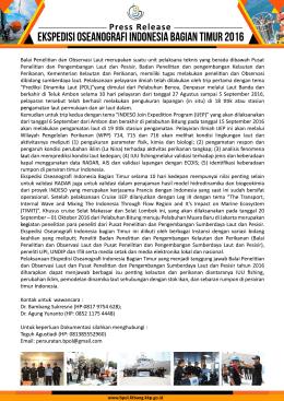 Press Release Seminar Ekspedisi Oseanografi Indonesia Bagian