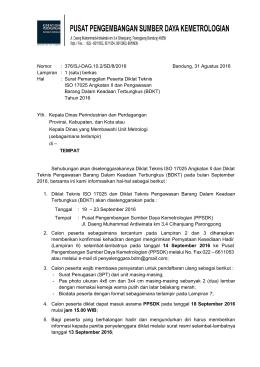 Unduh Surat Pemanggilan Diklat ISO 17025 Angkatan II dan