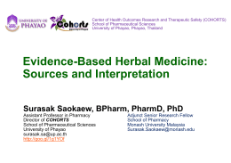 Evidence-Based Herbal Medicine: Sources and Interpretation