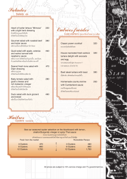 Salades Entrées froides Huîtres - Brasserie9 Fine French Cuisine