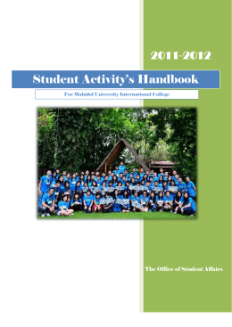 Student Activity`s Handbook - Mahidol University International College