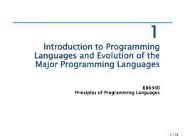 886340 Principles of Programming Languages