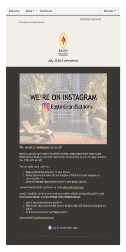 July 2016 E‐newsletter We`ve got an Instagram account!