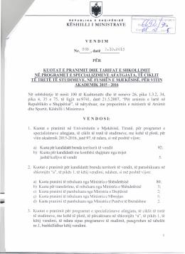 V.K.M. Nr. 808, datë 3.10.2015 - Ministria e Arsimit dhe Sportit