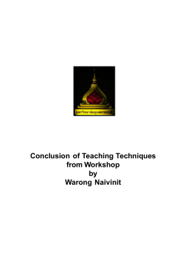 Conclusion of Teaching Techniques from Workshop by Warong