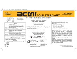 cold sterilant - Kelly Registration Systems