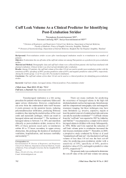 Cuff leak volume as a clinical predictor for identifying