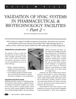 Validation of HVAC Systems in Pharmaceutical