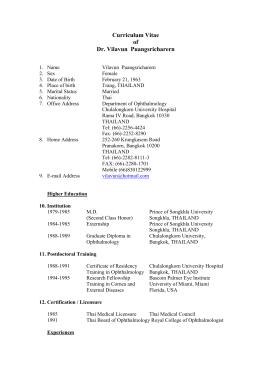Curriculum Vitae of Dr. Vilavun Puangsricharern