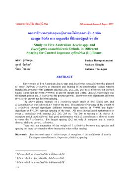 ผลการศึกษาการปกคลุมหญ  าคาของไม  สกุลอคาเซีย 5 ชนิด และยูคาลิปตัส
